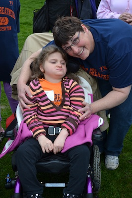 Kate with her nurse Pam at the Special Olympics