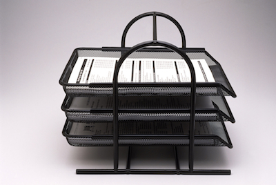 three-tiered in & out tray for office documents