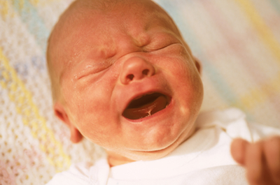 Crying three-day-old baby boy
