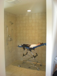 Bath chair with shower trolley