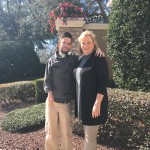 son and mom outside