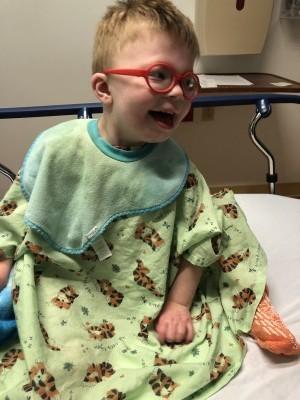 boy in hospital gown