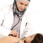 female nurse and child